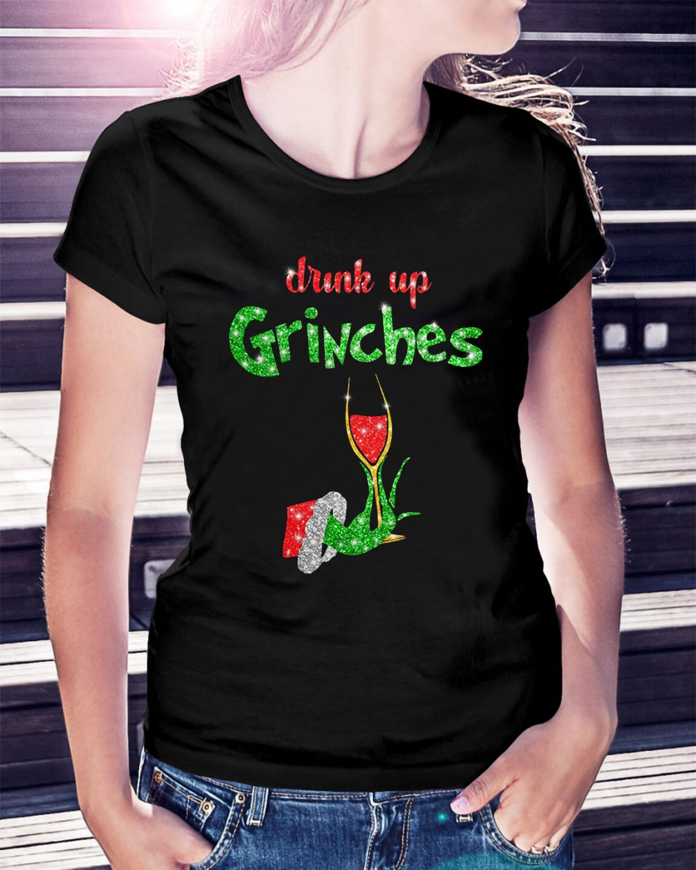 Drink up Grinches Christmas Ladies Tee