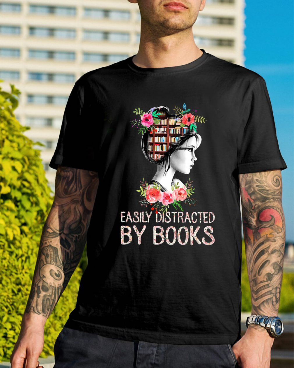 Easily distracted by books Guys Shirt