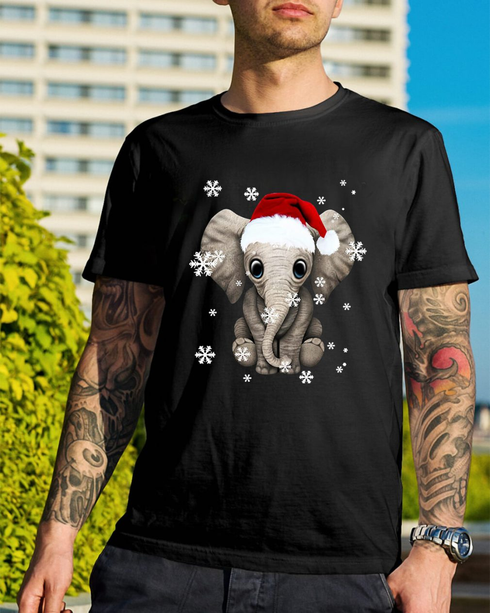 Elephant wearing a Santa hat Christmas snow Guys Shirt