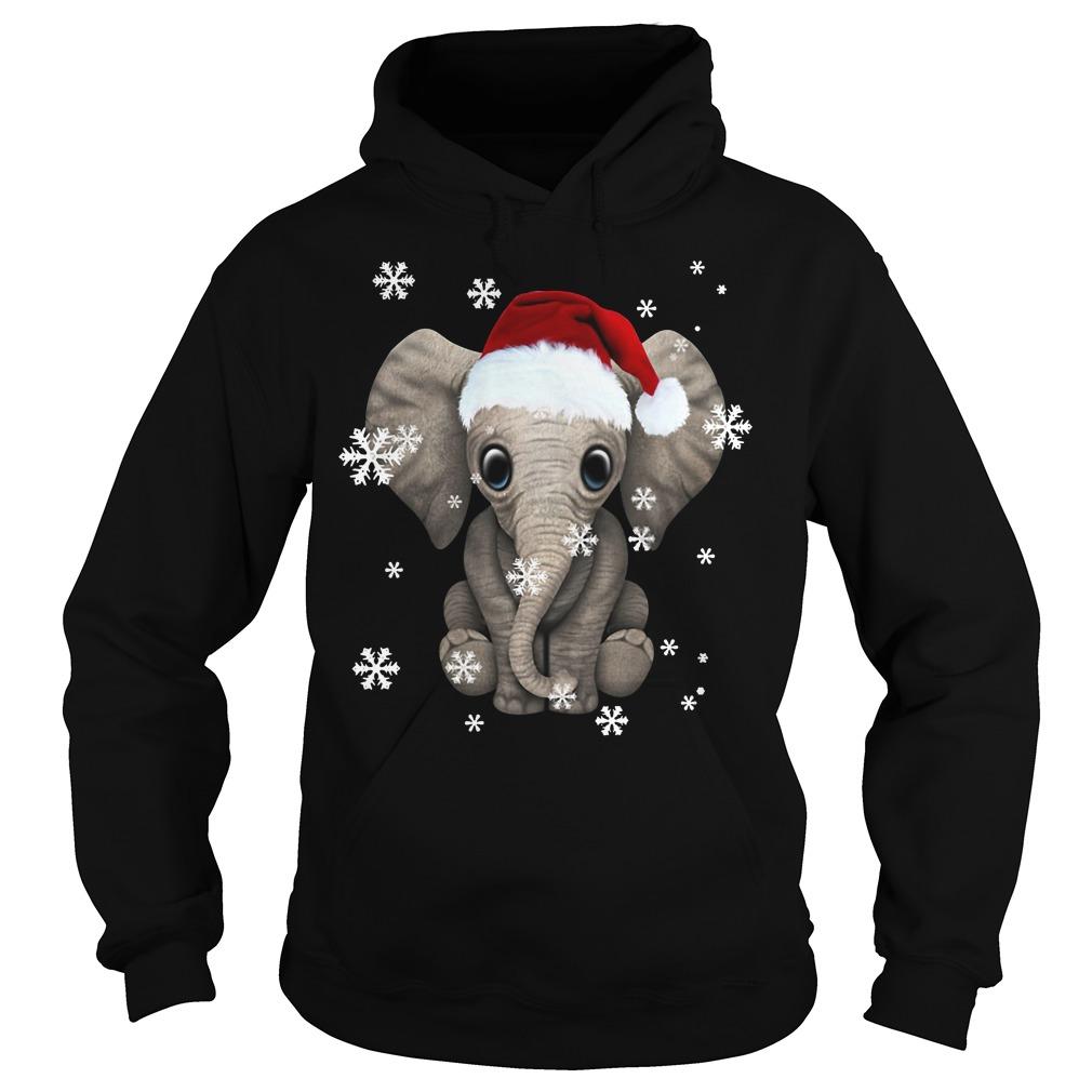 Elephant wearing a Santa hat Christmas snow Hoodie