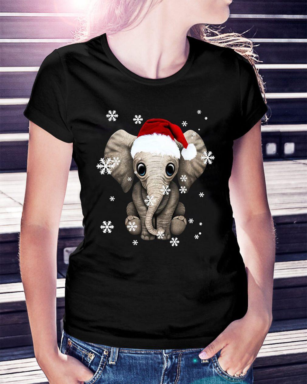 Elephant wearing a Santa hat Christmas snow Ladies Tee