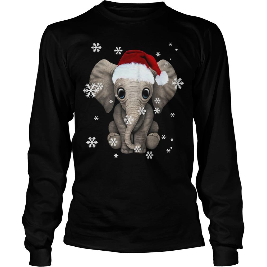 Elephant wearing a Santa hat Christmas snow Longsleeve Tee