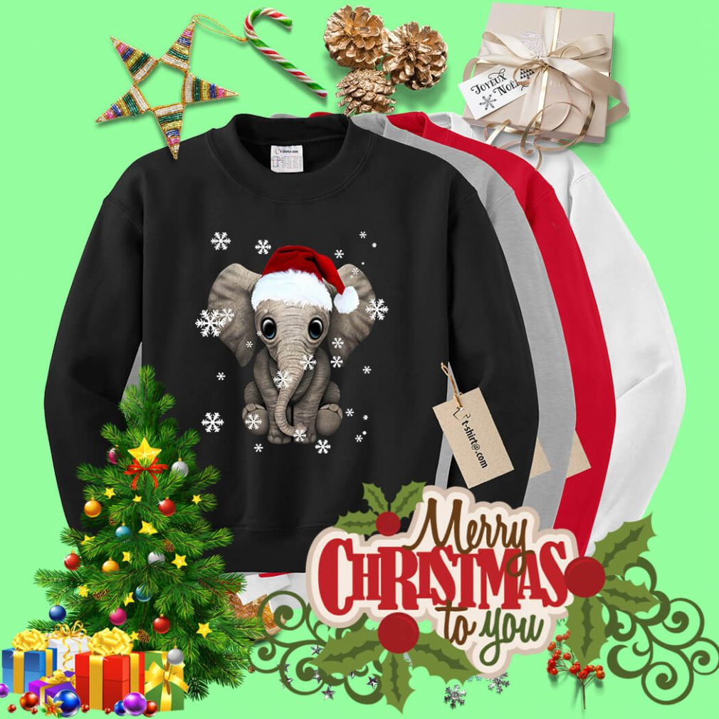 Elephant wearing a Santa hat Christmas snow shirt, sweater