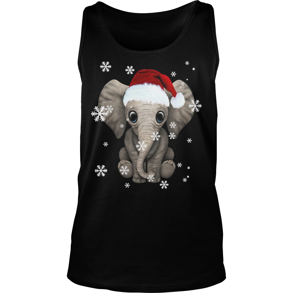 Elephant wearing a Santa hat Christmas snow Tank Top