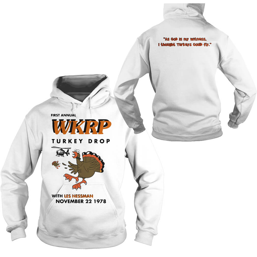 First annual WKRP turkey drop with Les Nessman November 22 1978 Hoodie