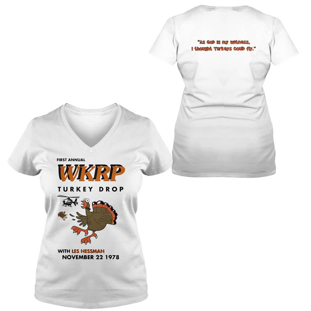First annual WKRP turkey drop with Les Nessman November 22 1978 V-neck T-shirt