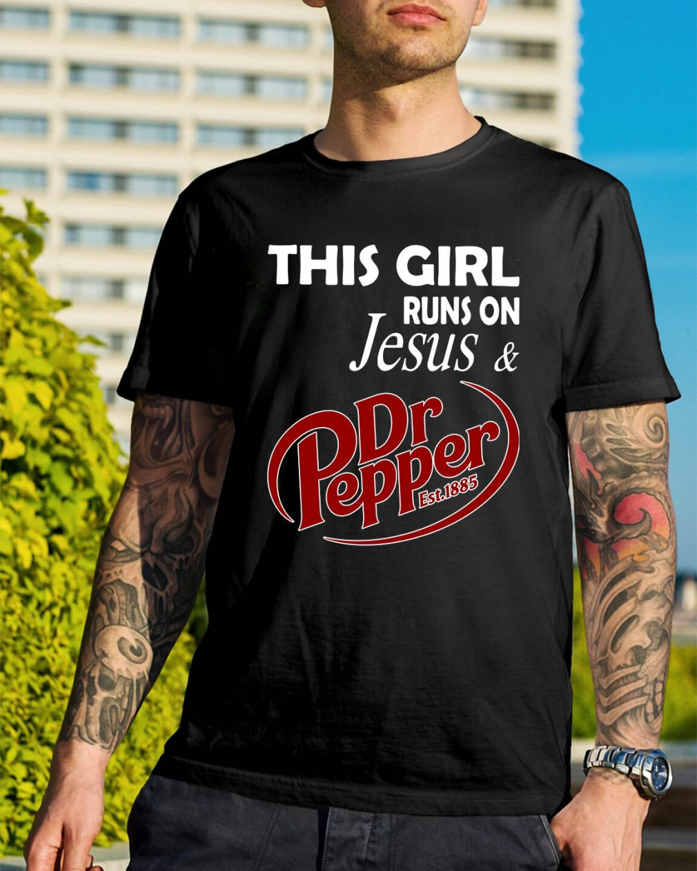 This girl runs on Jesus and Dr Pepper Est.1885 shirt