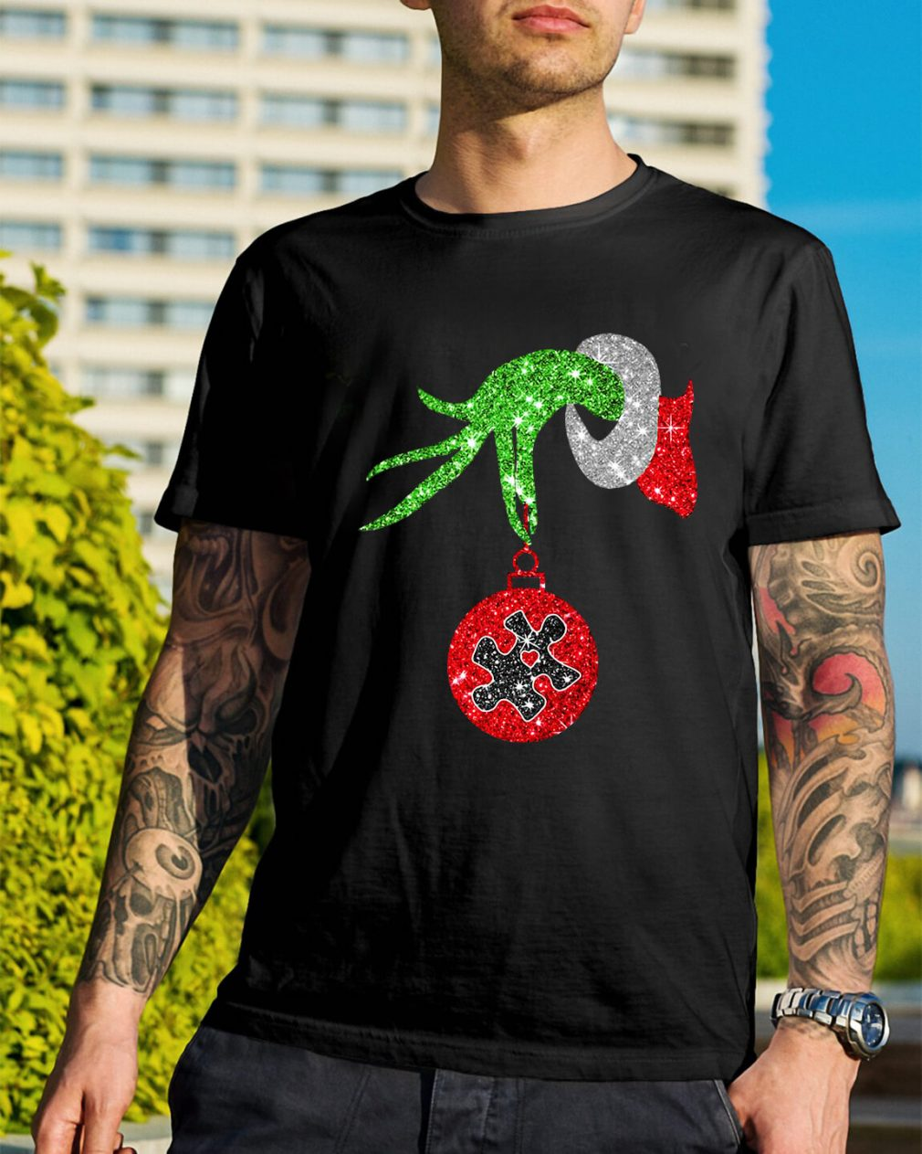 Grinch hand holding Twinkle Ornament Guys Shirt