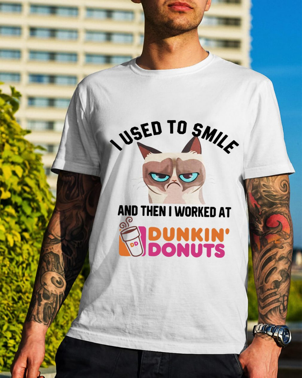 Grumpy Cat I used to smile and then I worked at dunkin' donuts shirt