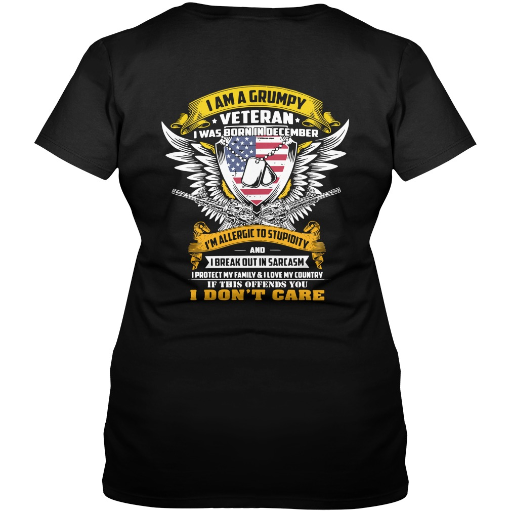 I am a grumpy veteran I was born in December I'm allergic to stupidity V-neck t-shirt