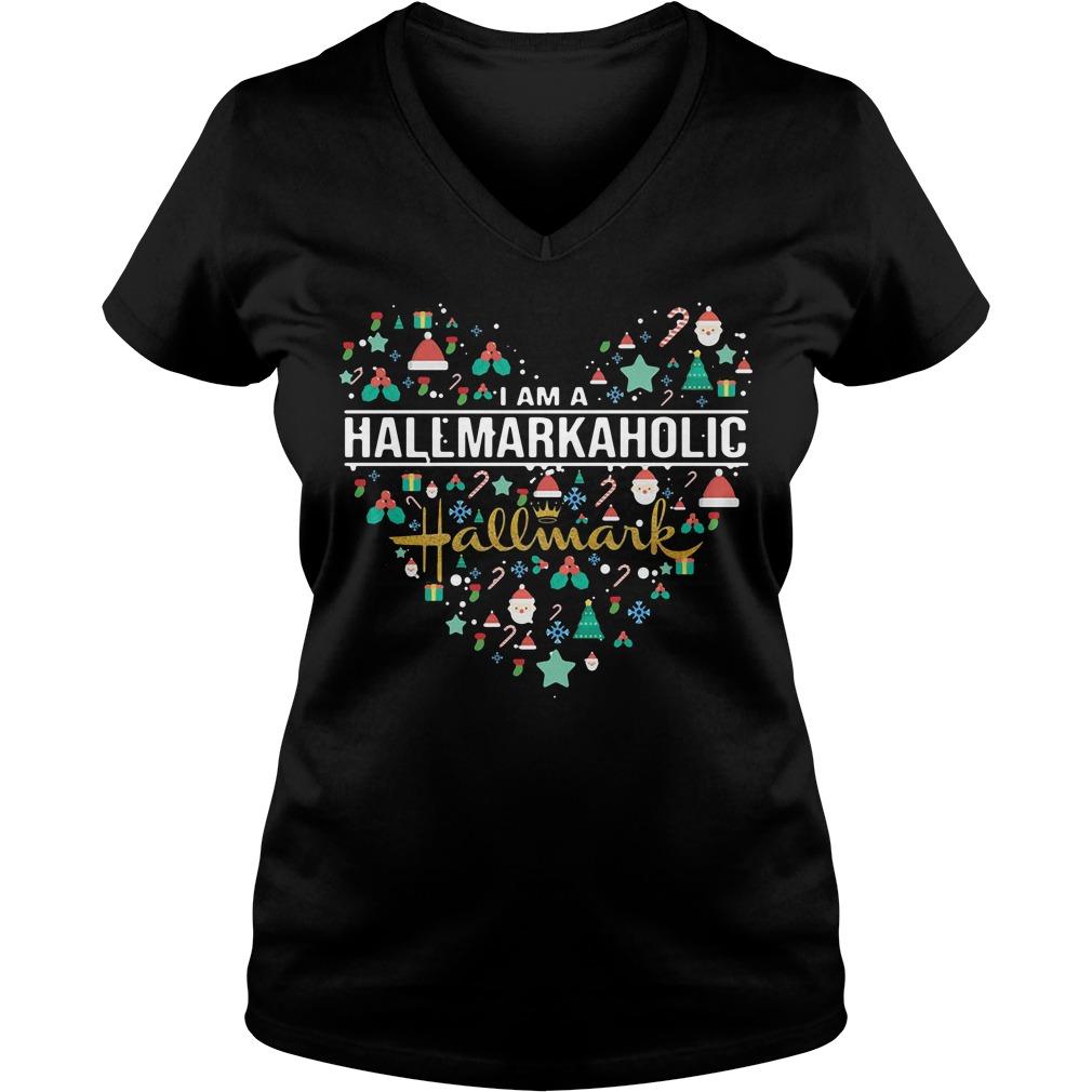 I am a Hallmark Aholic Hallmark V-neck T-shirt