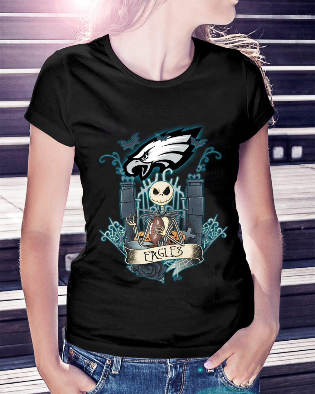 Halloween Jack Skellington Eagles Ladies Tee
