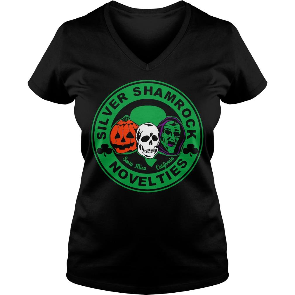 Halloween silver shamrock novelties V-neck T-shirt