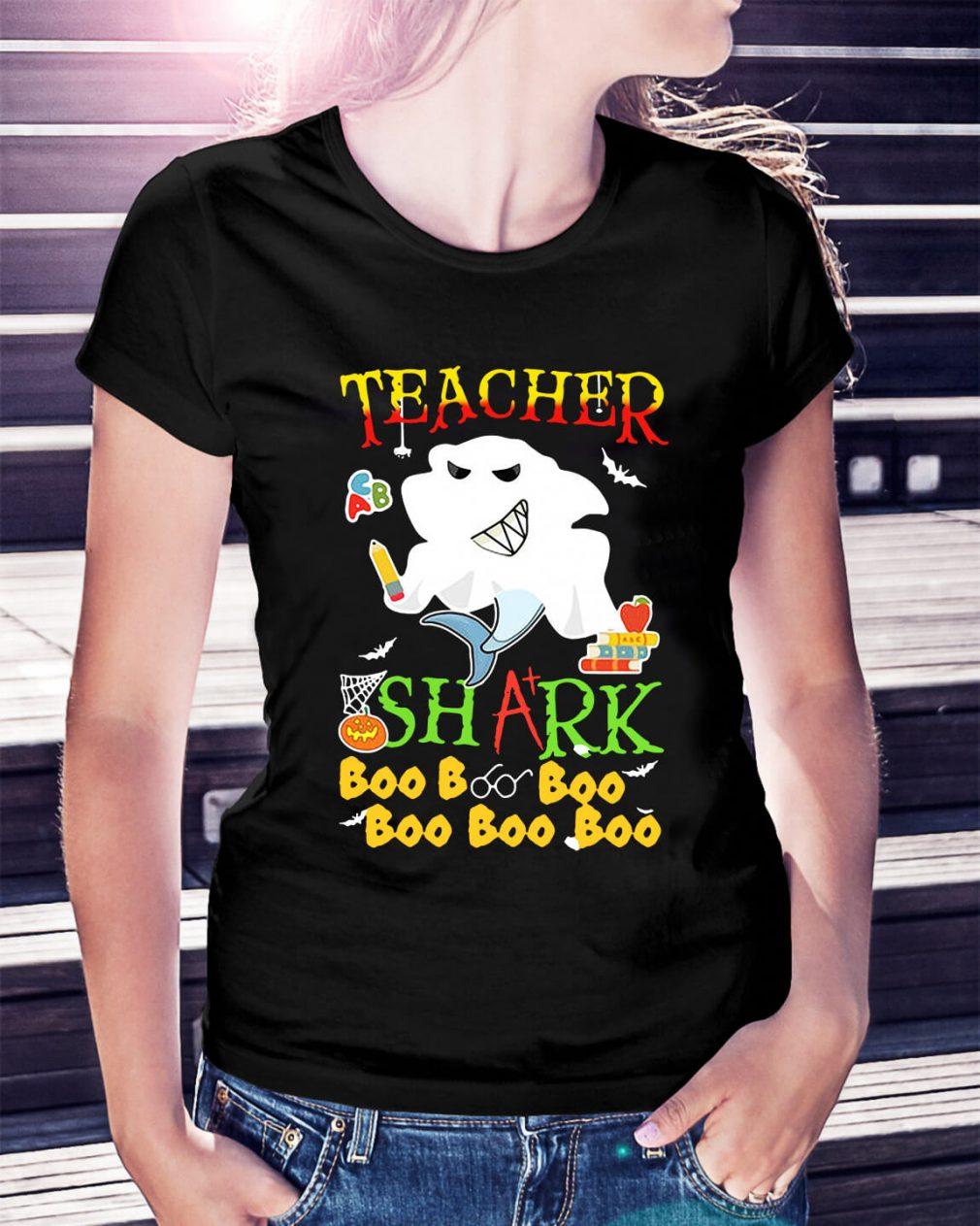 Halloween teacher shark boo boo boo boo boo boo Ladies Tee