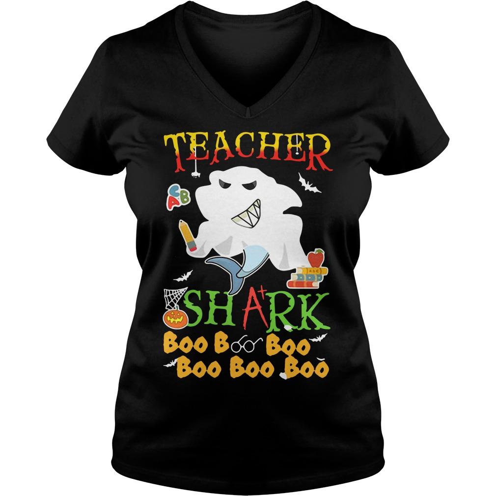 Halloween teacher shark boo boo boo boo boo boo V-neck T-shirt