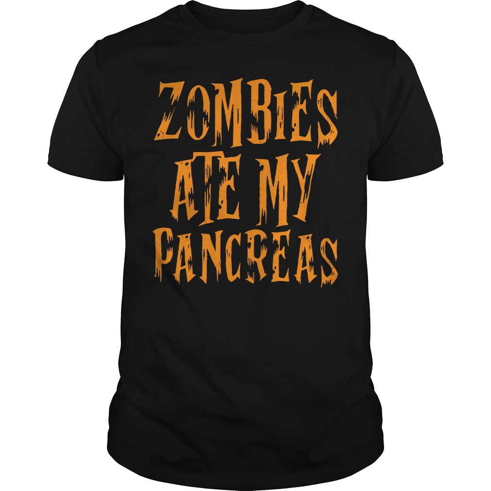 Halloween Zombies ate my pancreas Guys Shirt