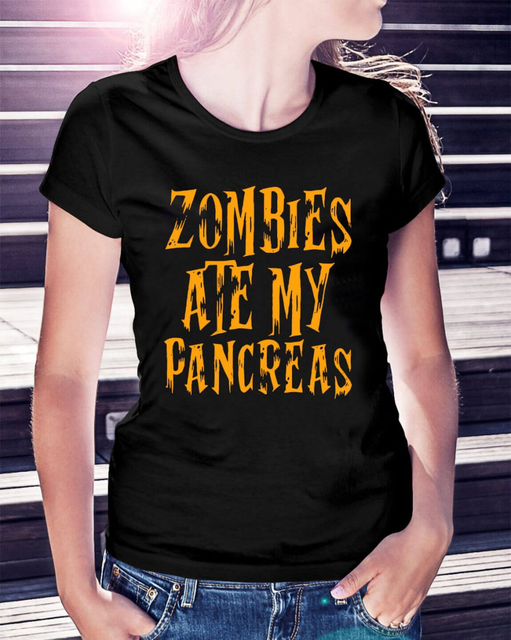 Halloween Zombies ate my pancreas Ladies Tee
