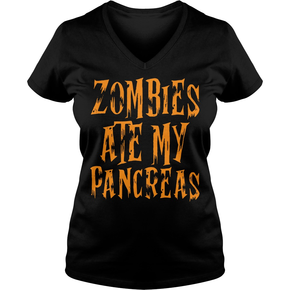 Halloween Zombies ate my pancreas V-neck T-shirt