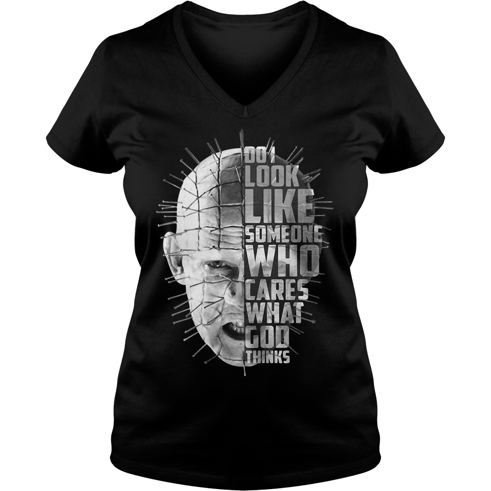 Hellraiser do I look like someone who cares what God thinks V-neck T-shirt