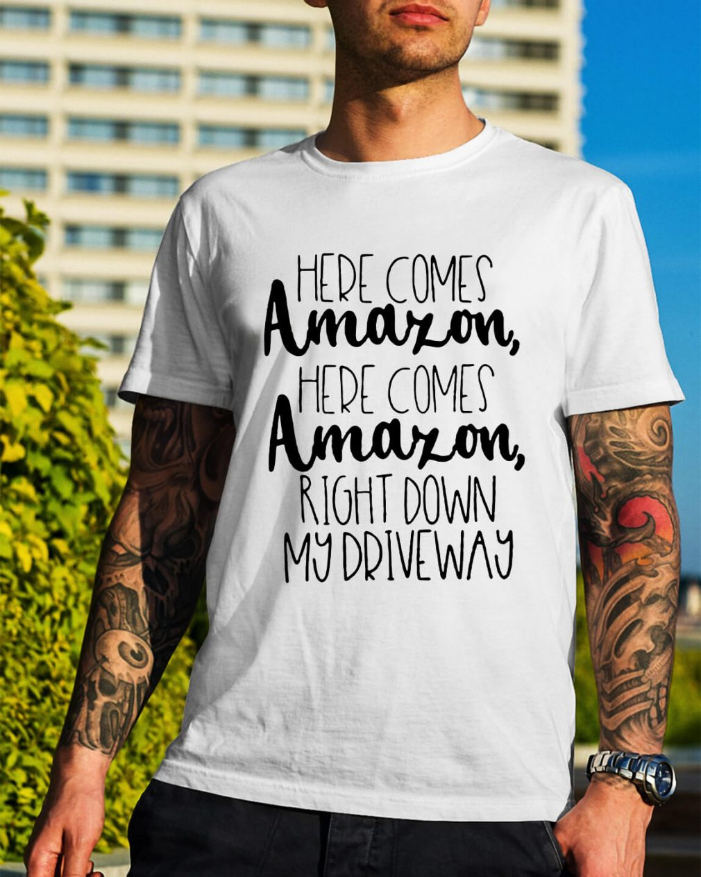 Here comes Amazon here comes Amazon right down Guys Shirt