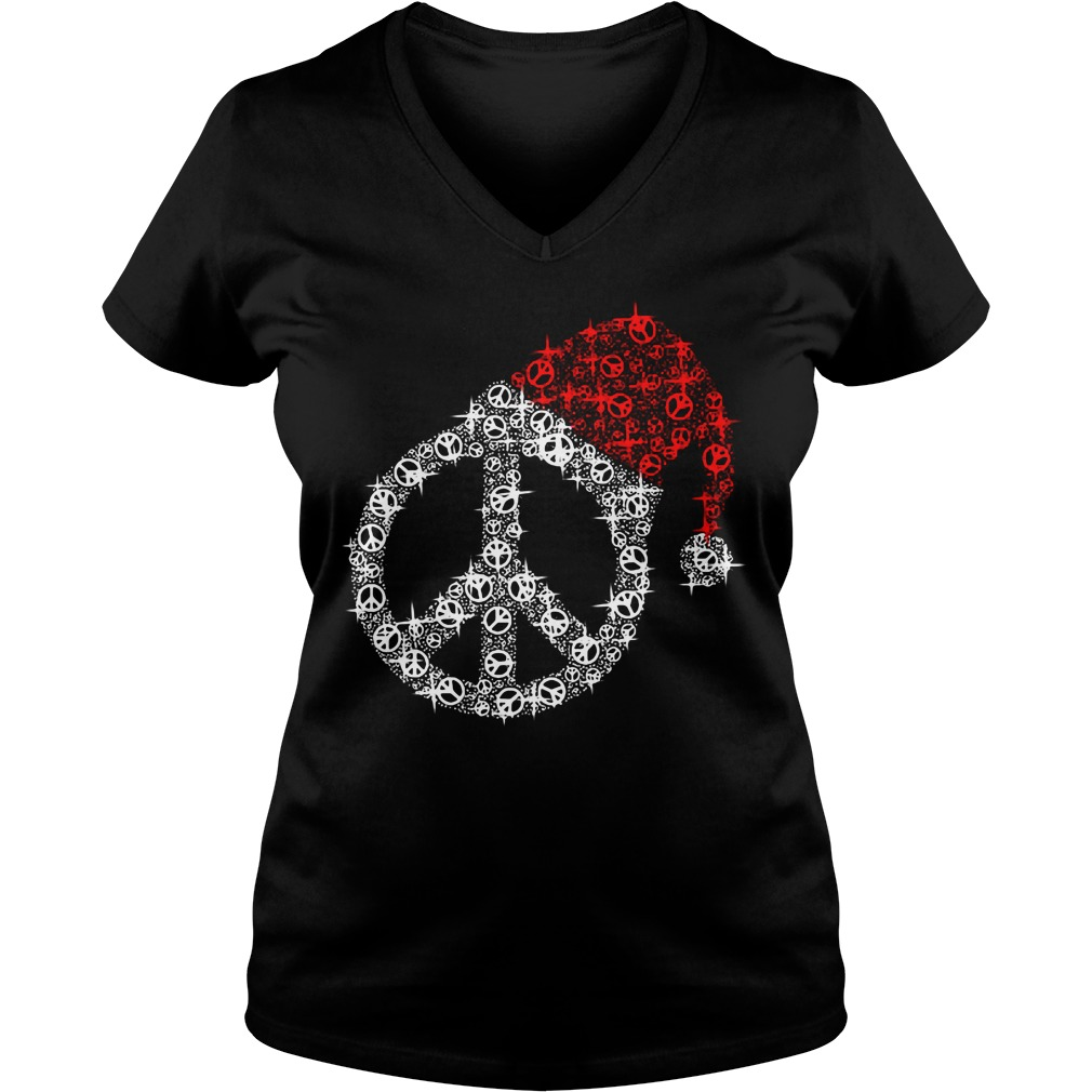 Hippie Christmas hat twinkle V-neck T-shirt