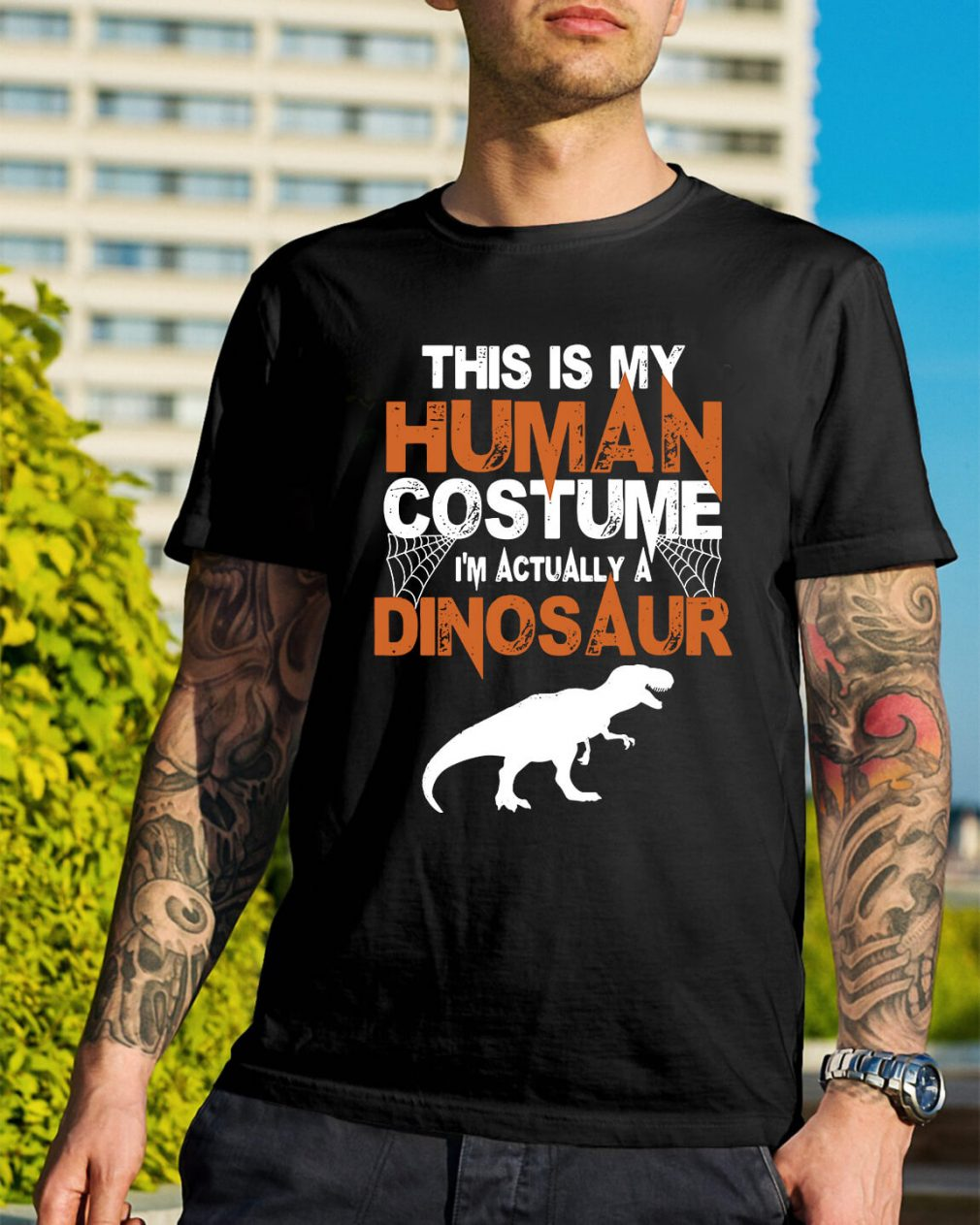 This is my house human costume I'm actually a Dinosaur shirt