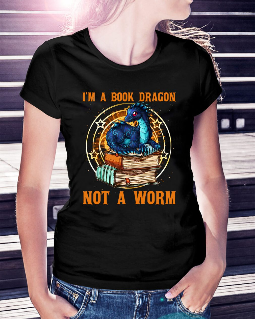 I'm a book dragon not a worm Ladies Tee