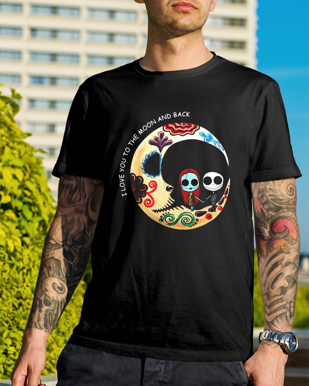 Jack and Sally I love you the moon and back shirt