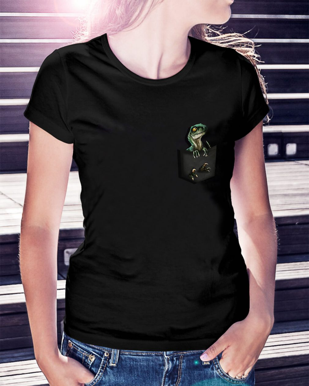 Official Jurassic World Raptor pocket Ladies Tee