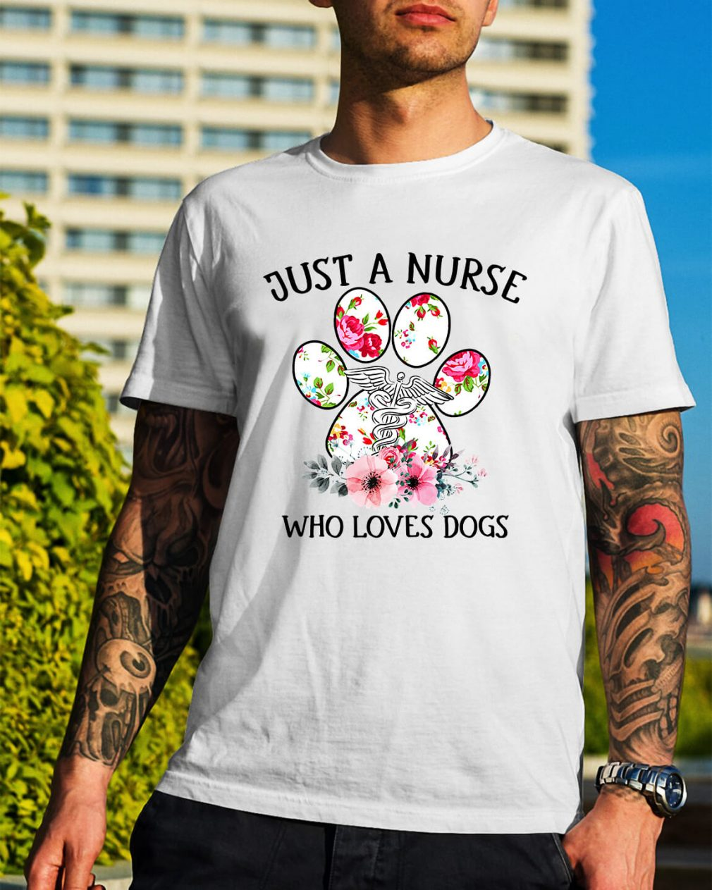 Just a nurse who loves dogs Guys Shirt