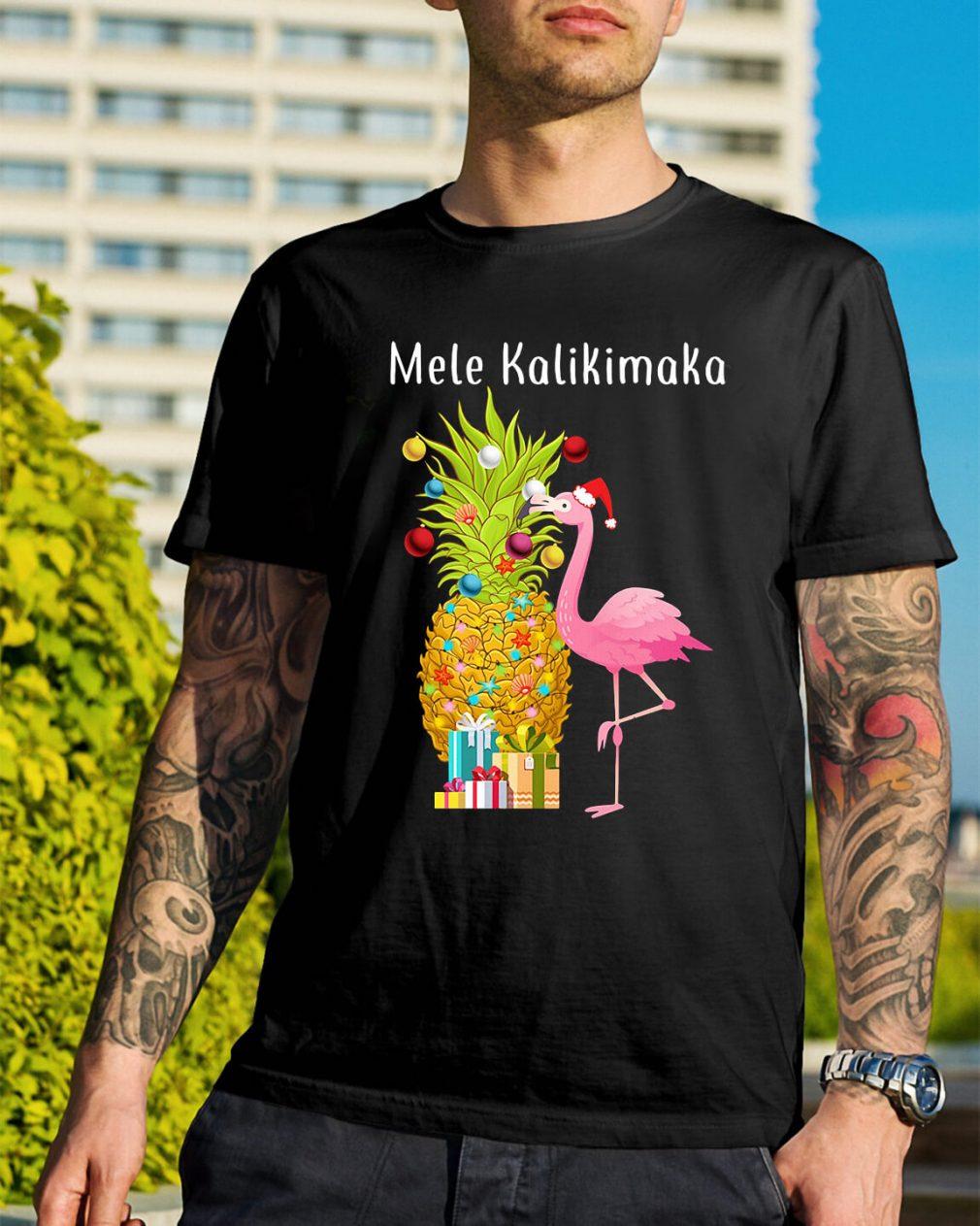 Mele Kalikimaka flamingo Christmas pineapple Guys Shirt