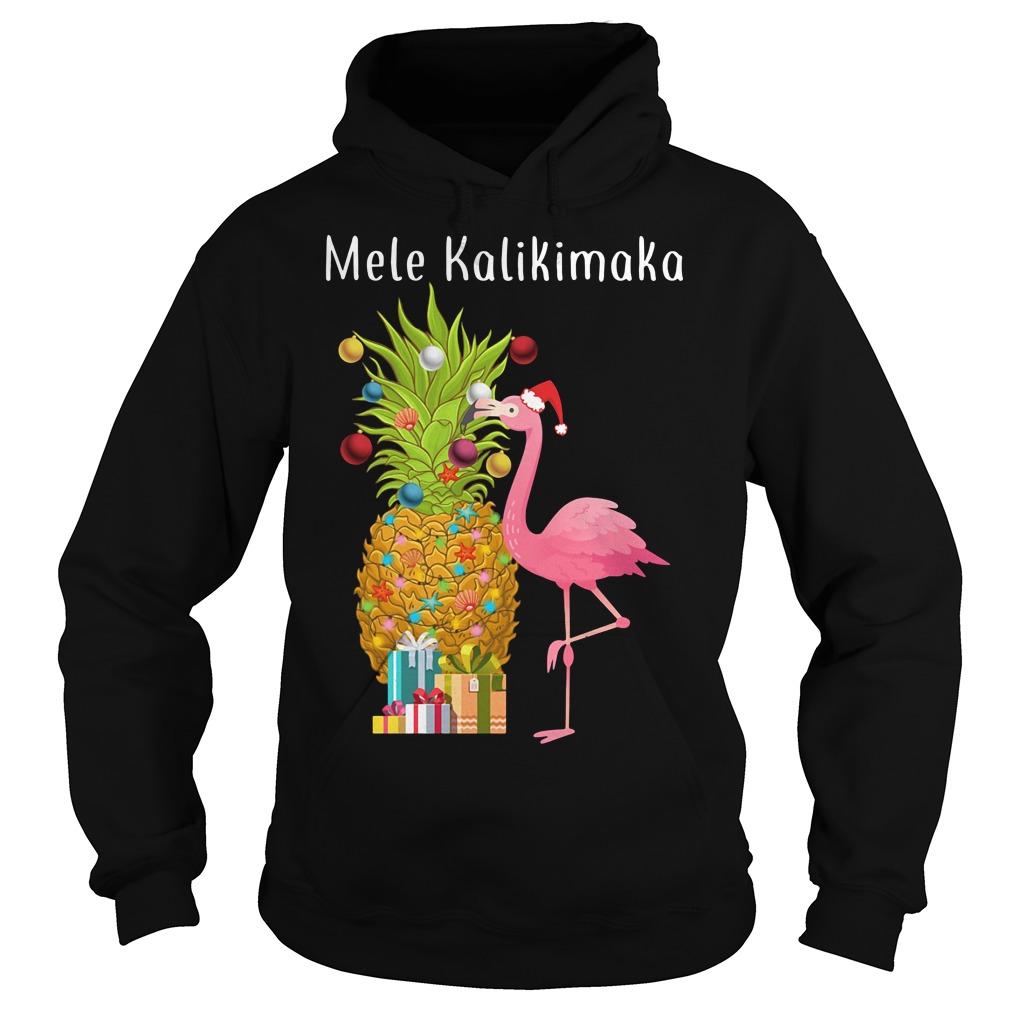 Mele Kalikimaka flamingo Christmas pineapple Hoodie