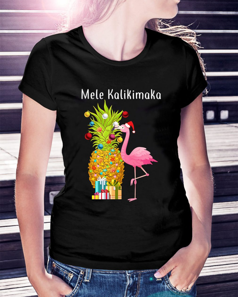 Mele Kalikimaka flamingo Christmas pineapple Ladies Tee