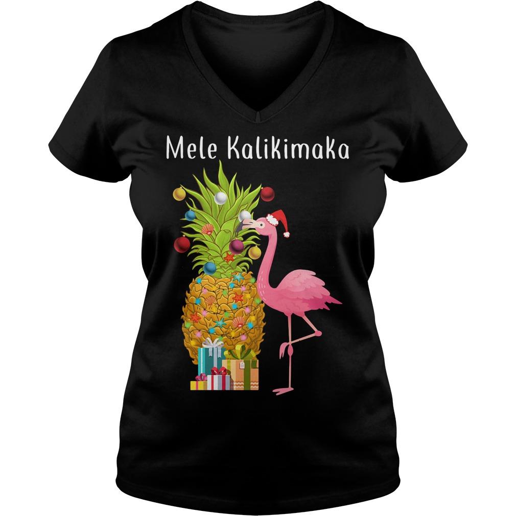 Mele Kalikimaka flamingo Christmas pineapple V-neck T-shirt