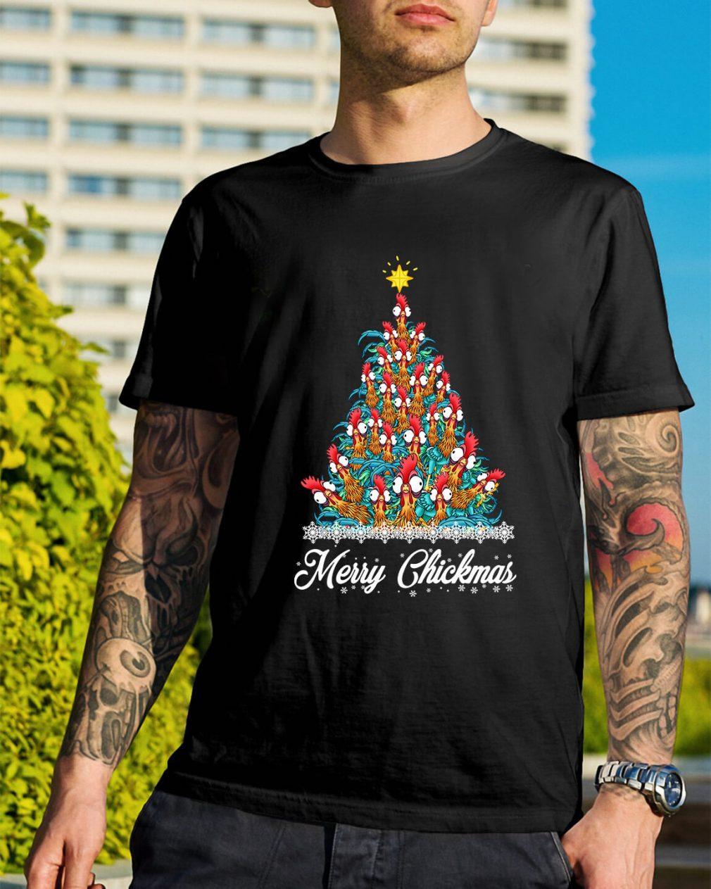 Merry Chickmas Hei Hei tree Guys Shirt