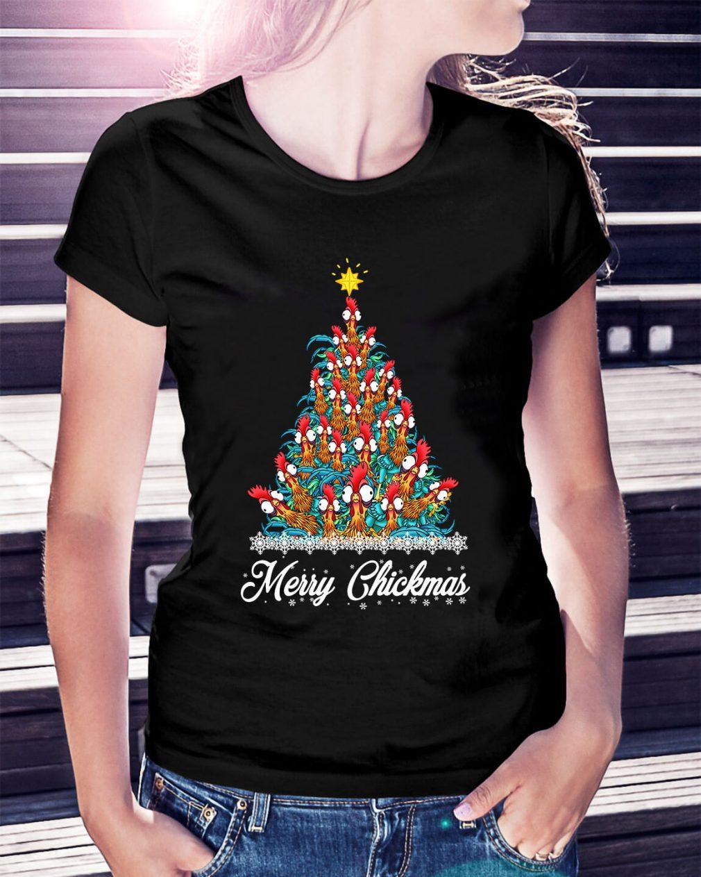 Merry Chickmas Hei Hei tree Ladies Tee