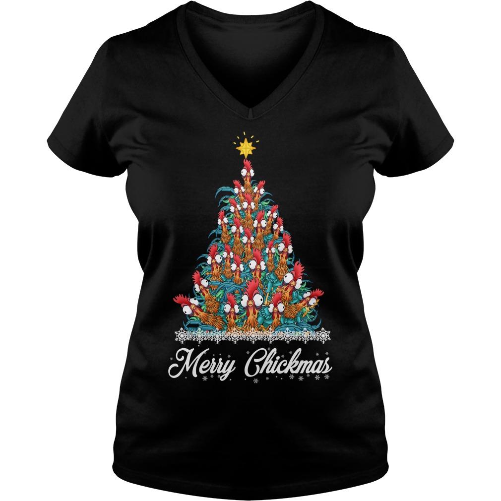 Merry Chickmas Hei Hei tree V-neck T-shirt