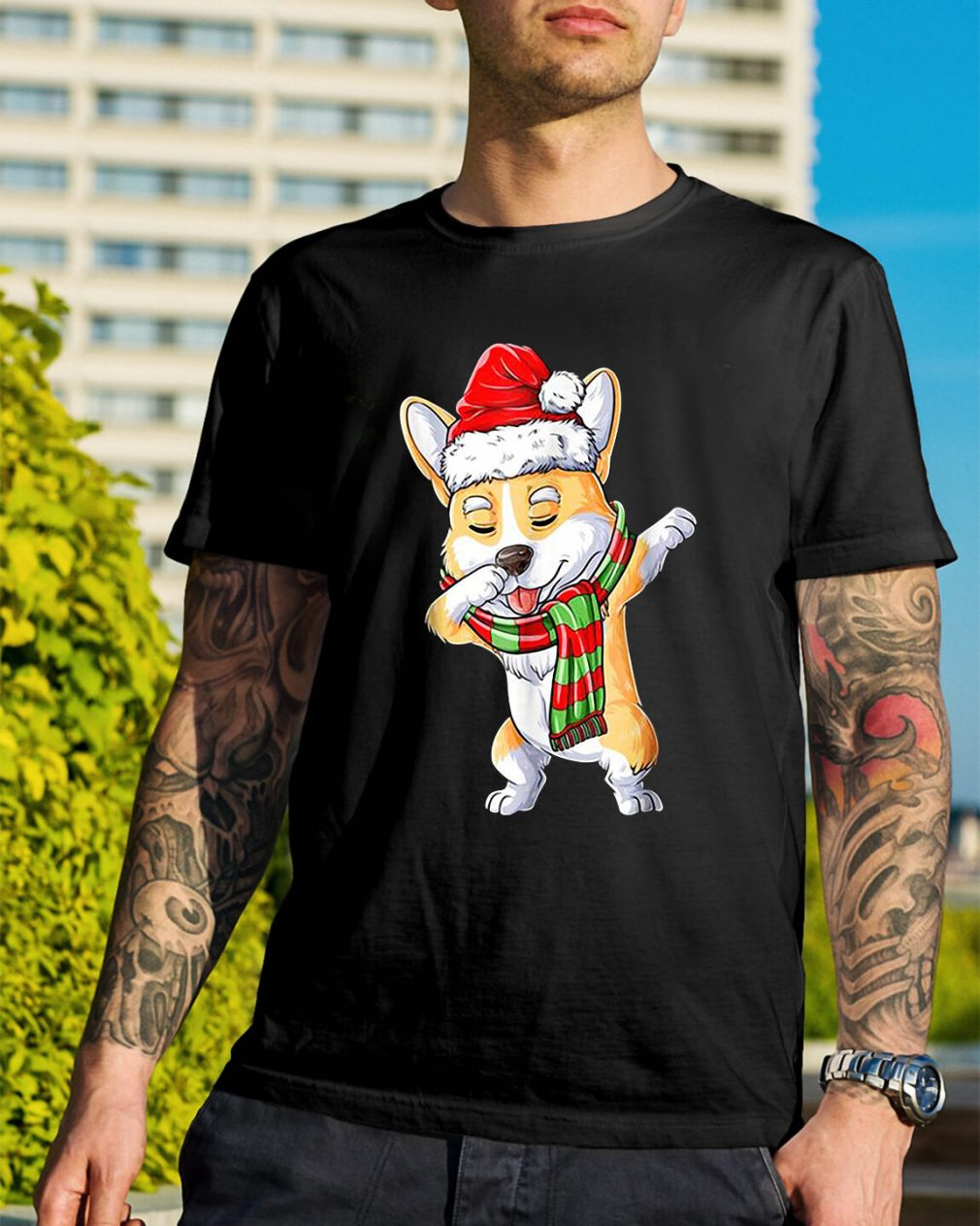 Merry Christmas Corgi dabbing Guys Shirt