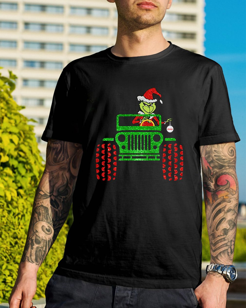 Merry Christmas Grinch driving jeep Guys Shirt