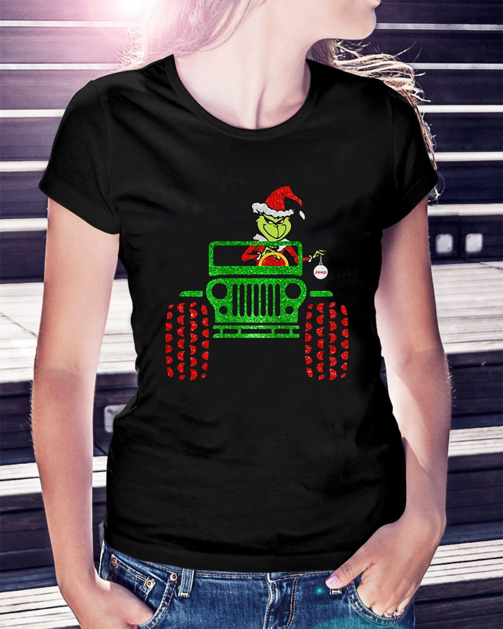 Merry Christmas Grinch driving jeep Ladies Tee