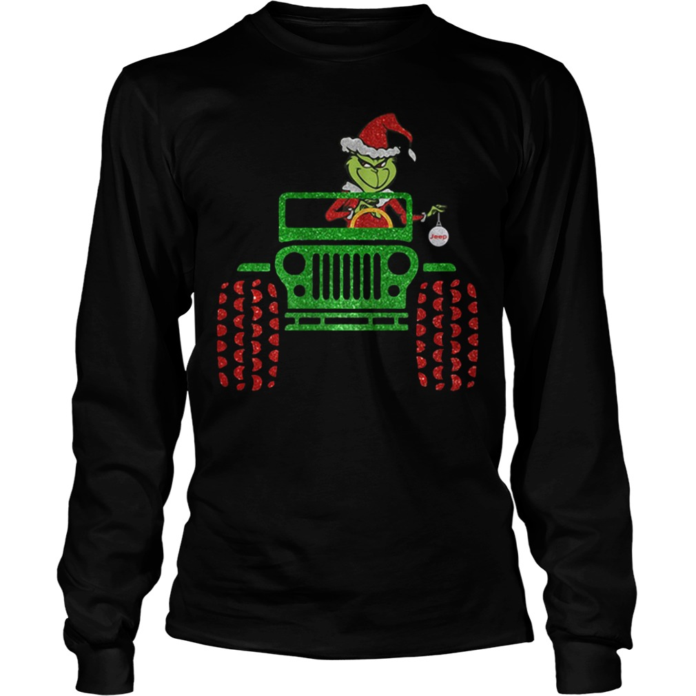 Merry Christmas Grinch driving jeep Longsleeve Tee