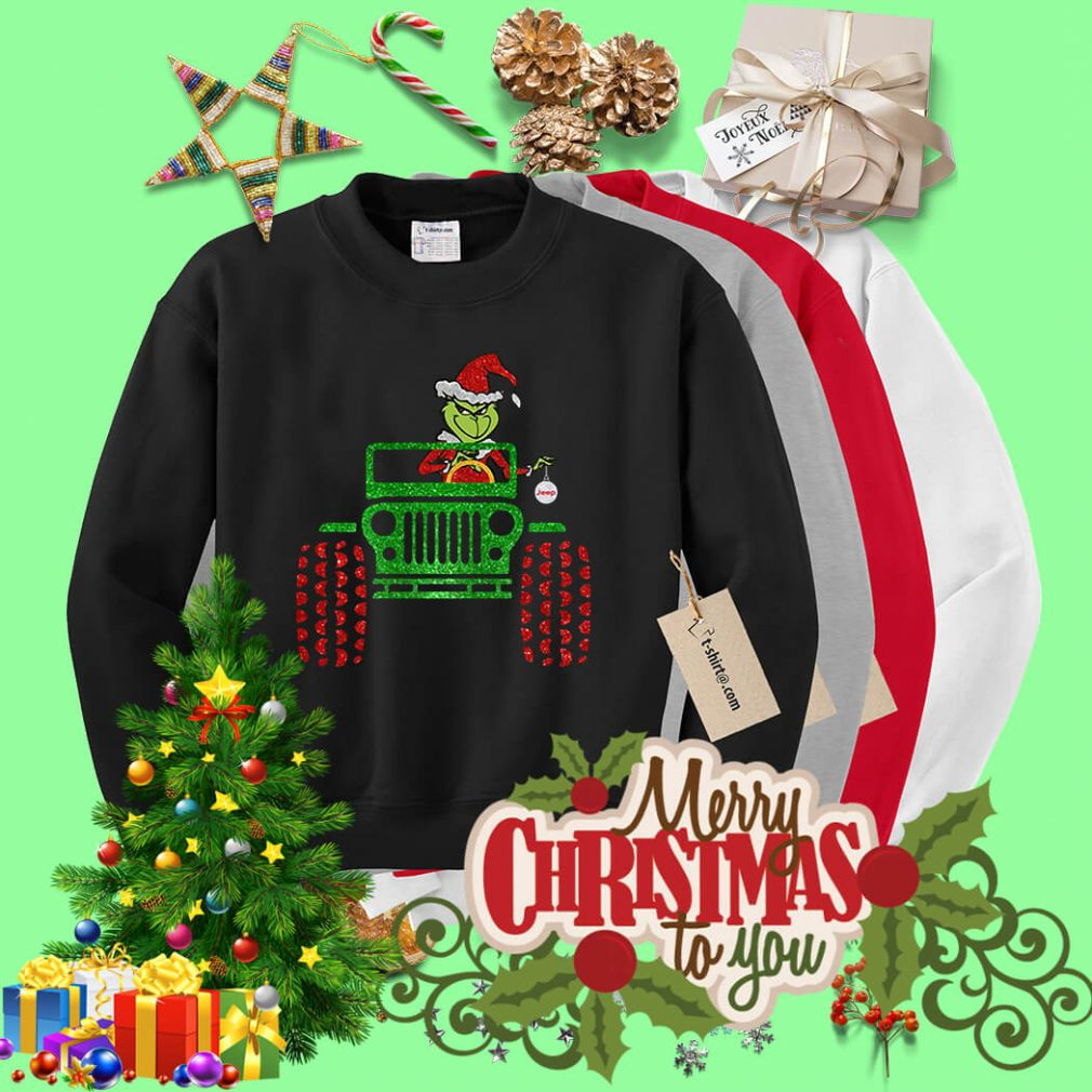 Merry Christmas Grinch driving jeep shirt, sweater