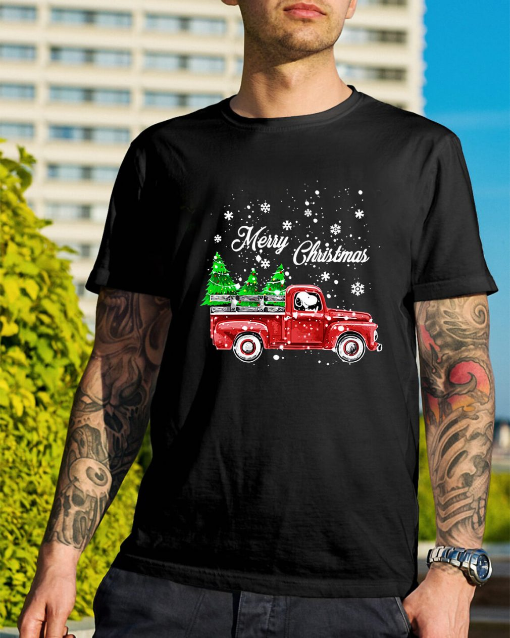 Merry Christmas Snoopy driving Guys Shirt