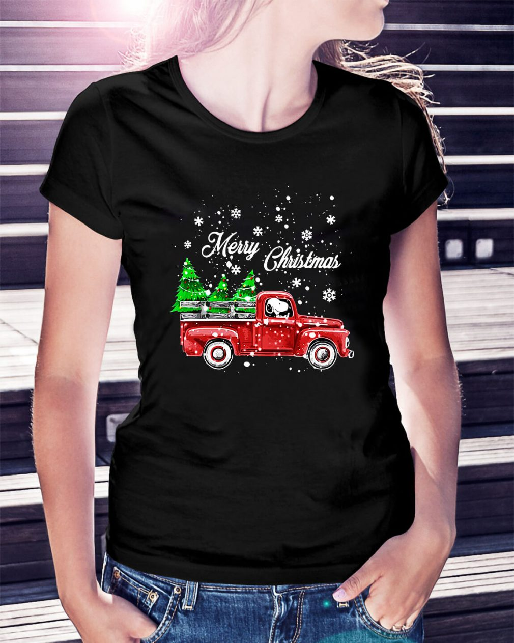 Merry Christmas Snoopy driving Ladies Tee
