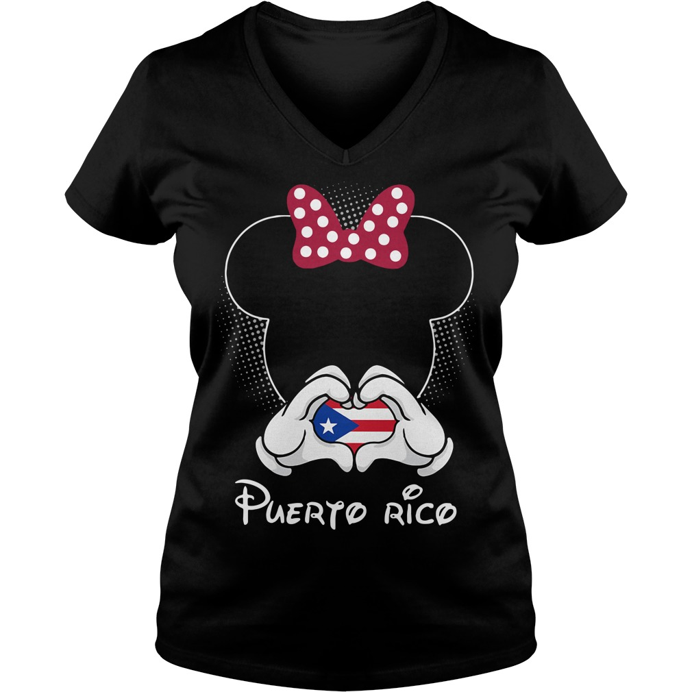 Mickey love Puerto Rico V-neck T-shirt