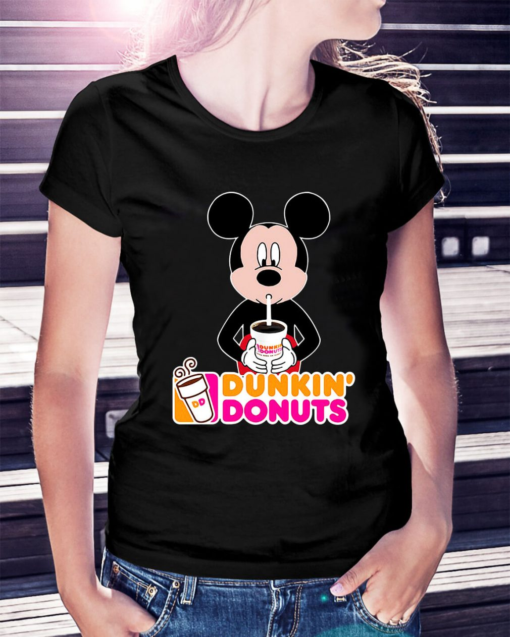 Mickey Mouse dunkin' donuts Ladies Tee