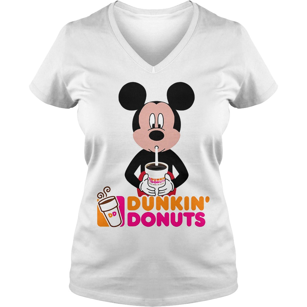 Mickey Mouse dunkin' donuts V-neck T-shirt
