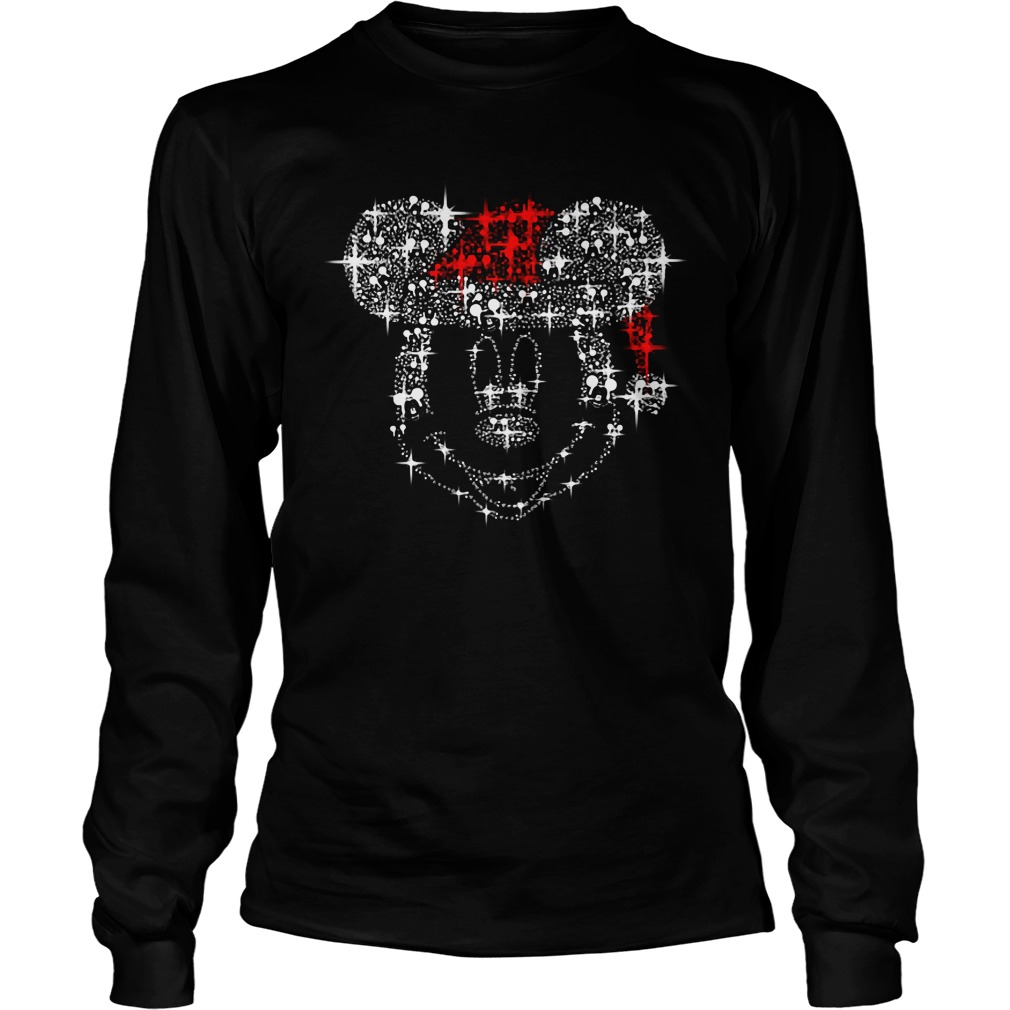 Mickey Mouse Rhinestone Christmas Longsleeve Tee