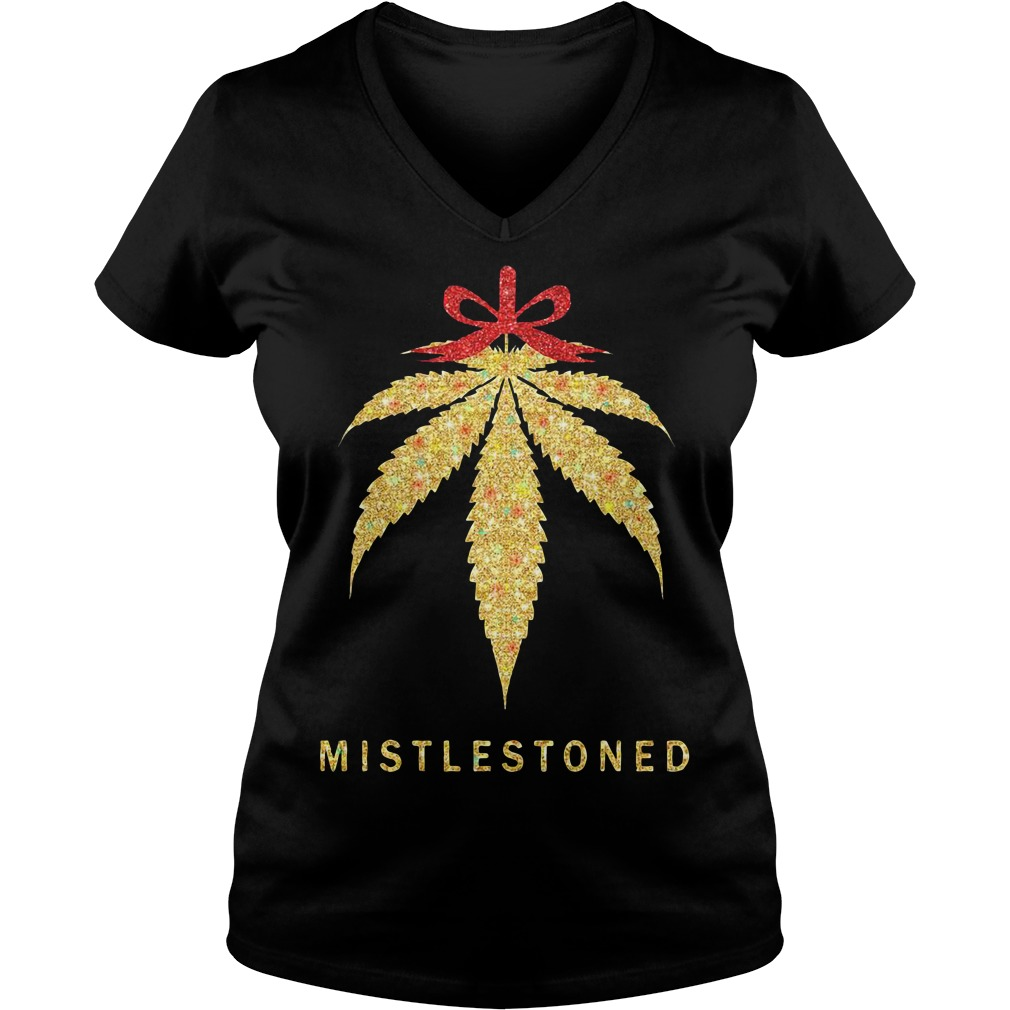 Mistlestoned weed Christmas V-neck T-shirt