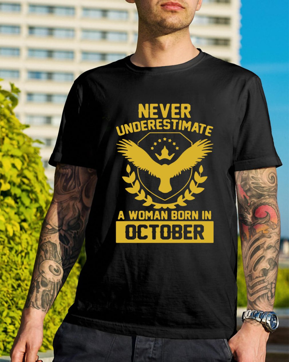Never underestimate a woman born in October shirt